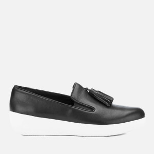 FitFlop Women's Tassel Superskate Leather Slip On Trainers - Black