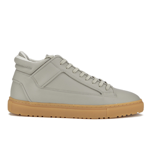 ETQ. Men's Mid Top 2 Rubberized Leather Trainers - Alloy/Gum