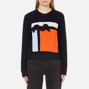 MSGM Women's Contrast Cable Knit and Frill Jumper - Multi