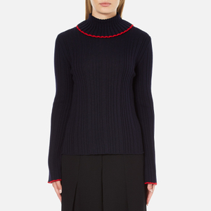 MSGM Women's Ruffle Rollneck Jumper - Navy
