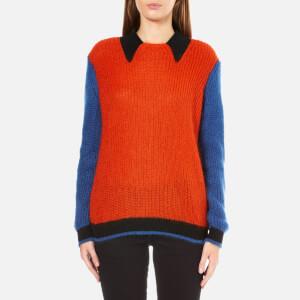 KENZO Women's Contrast Knit Collar Jumper - Duck Blue