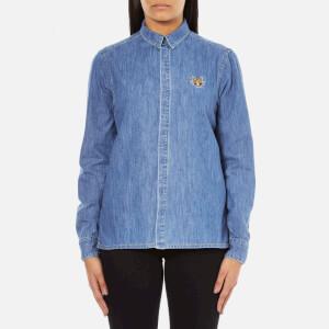 KENZO Women's Denim Small Tiger Logo Shirt - Blue