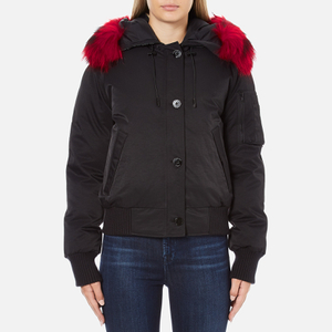 KENZO Women's Removable Red Fur Lined Short Parka - Black