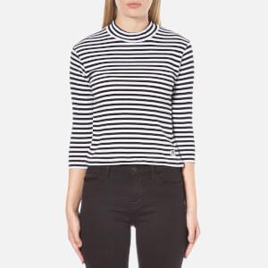 OBEY Clothing Women's Coastal Mock Neck Cropped Top - Black Multi