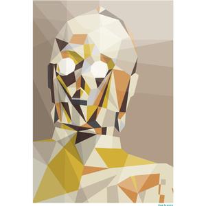 "Póster Fine Art Geométrico Star Wars ""C-3PO"" (42 cm x 30 cm)"