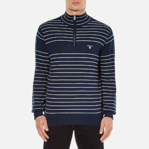 GANT Men's Stripe Half Zip Knitted Jumper - Marine