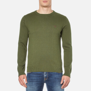 GANT Men's Contrast Cotton Crew Neck Knitted Jumper - Forest Green Melange