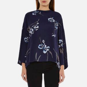 Ganni Women's Akina Crepe Blouse - Iris Orchid