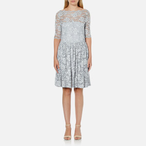 Ganni Women's Ayame Lace Dress - Pearl Blue