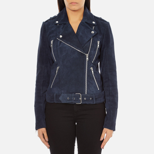 Gestuz Women's Daya Suede Biker Jacket - Blue