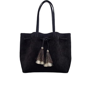 Loeffler Randall Women's Suede Drawstring Tote Bag - Black/Black Natural