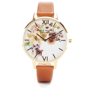 Olivia Burton Women's Flower Show Watercolour Watch - Tan Gold