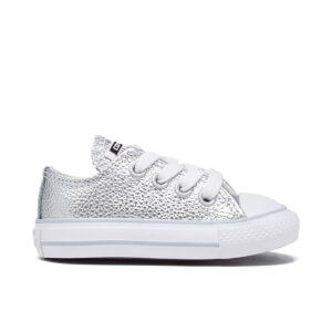 Converse Toddlers' Chuck Taylor All Star Metallic Leather OX Trainers - Pure Silver/White