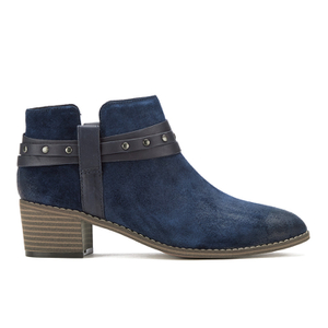 Clarks Women's Breccan Shine Suede Heeled Ankle Boots - Navy