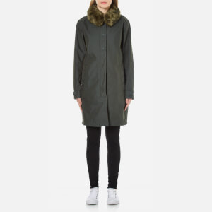 Ilse Jacobsen Women's Oil Skin Faux Collar Coat - Forest
