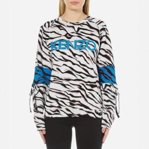 KENZO Women's Tiger Stripes Logo Sweatshirt - White