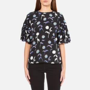 KENZO Women's Dandelion Silk Top With Flared Sleeves - Black
