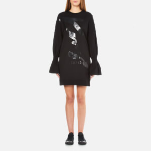 KENZO Women's Logo Sweatshirt Dress with Flared Sleeves - Black