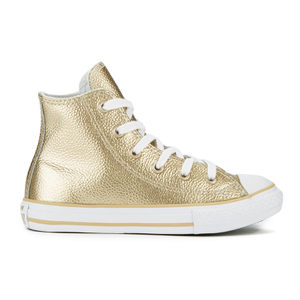 Converse Kids' Chuck Taylor All Star Metallic Leather Hi-Top Trainers - Light Gold/White/White
