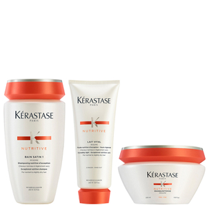 Kérastase Nutritive Bain Satin 1 250ml, Nutritive Lait Vital and Masquintense Cheveux Fins For Thin Hair 200ml