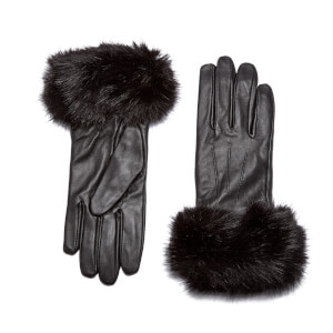 Barbour Women's Faux Fur Trimmed Leather Gloves - Black