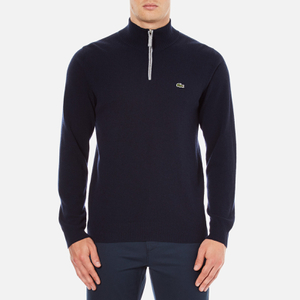Lacoste Men's Half Zip Funnel Neck Sweatshirt - Navy Blue/Silver Chine
