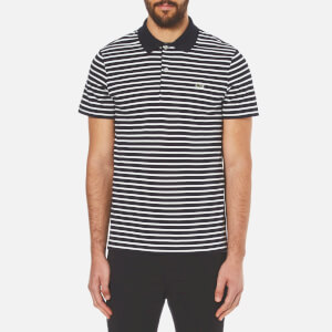 Lacoste Men's Striped Polo Shirt - Navy Blue/Flour