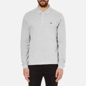 Lacoste Men's Long Sleeve Marl Polo Shirt - Silver Chine