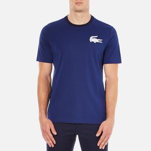 Lacoste L!ve Men's Large Logo Crew T-Shirt - Jazz/White/Navy Blue