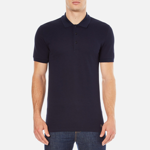 Versace Collection Men's Collar Detail Polo Shirt - Navy