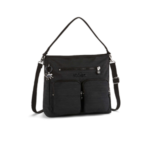 Kipling Women's Tasmo Double Pocket Medium Shoulder Bag - Dazzling Black