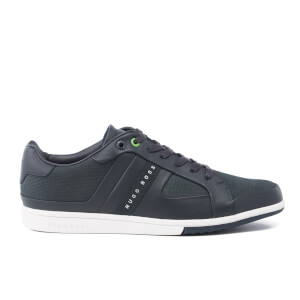 BOSS Green Men's Metro Club Tenn Leather Trainers - Dark Blue