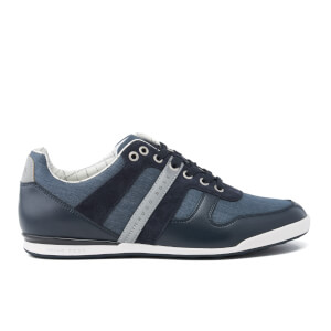 BOSS Green Men's Arkansas Nylon Chambray Trainers - Dark Blue
