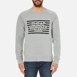 Cheap Monday Men's Rules Striped Logo Sweatshirt - Grey Melange