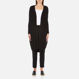 Paisie Women's Ribbed Knee Length Cardigan - Black