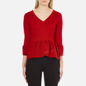 Boutique Moschino Women's Peplum Flared Sleeve Jumper - Red