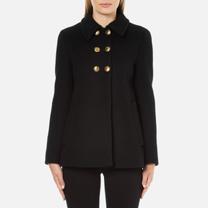 Boutique Moschino Women's Pea Coat with Gold Buttons - Black