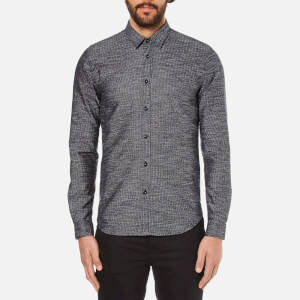 Folk Men's Textured Long Sleeve Shirt - Navy Texture