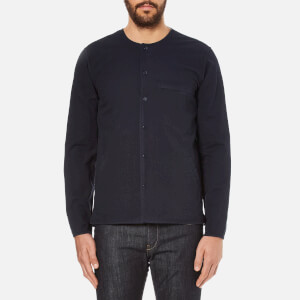 Folk Men's Collarless Long Sleeve Shirt - Navy