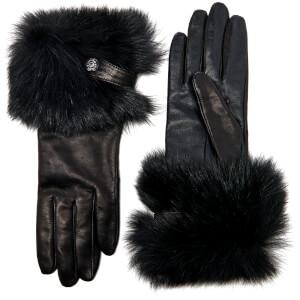 UGG Women's Valentina Swarovski Smart Gloves with Toscana Trim - Black