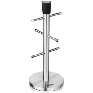 Tower 6 Cup Mug Tree - Stainless Steel/Black