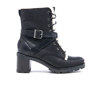 UGG Women's Ingrid Leather Sheepskin Lace Up Heeled Boots - Black