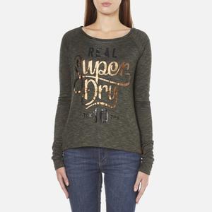 Superdry Women's Slubby Graphic Knitted Jumper - Khaki Twist