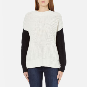 Superdry Women's Colour Block Rib Knitted Jumper - Black/Cream