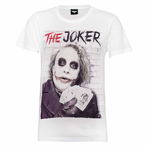 DC Comics Men's Batman Joker Cards T-Shirt - White