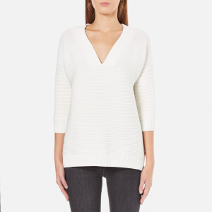 French Connection Women's Mozart Ripple V Neck Jumper - Winter White