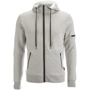 Brave Soul Men's Prof Longline Zip Through Hoody - Off White/Grey