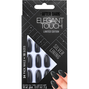 Elegant Touch Trend After Dark Nails – Grey Metallic/Tipped Stiletto/Silver Lining
