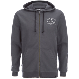 Animal Men's Shiver Zip Through Back Print Hoody - Asphalt Grey