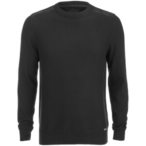 Threadbare Men's Quaker Waffle Shoulder Panel Jumper - Black